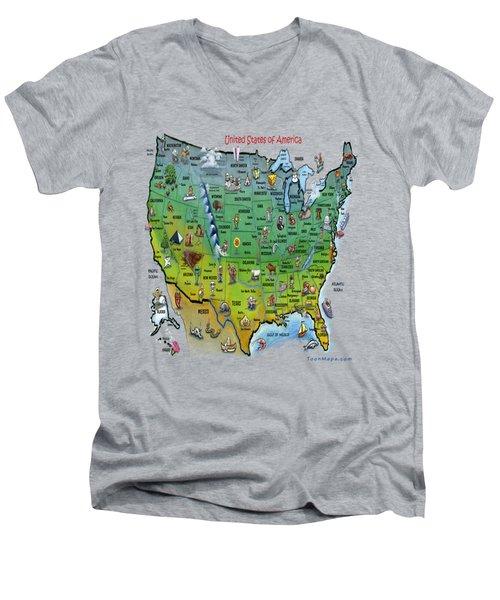 Usa Cartoon Map Men's V-Neck T-Shirt