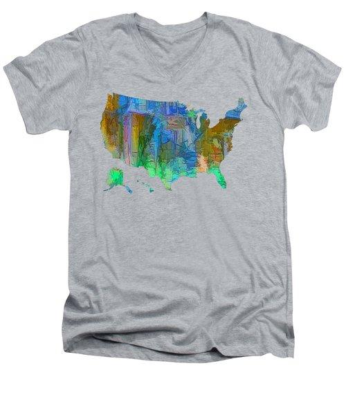 Usa - Colorful Map Men's V-Neck T-Shirt
