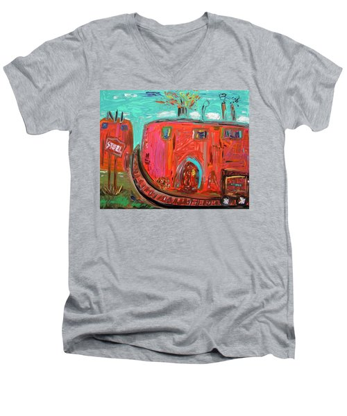 Usa Steel Still Fascinates Men's V-Neck T-Shirt by Mary Carol Williams