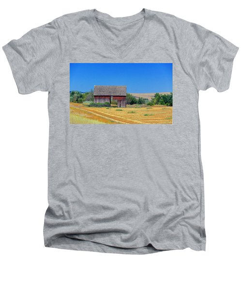Men's V-Neck T-Shirt featuring the photograph Used To Be Red Barn by Susan Crossman Buscho