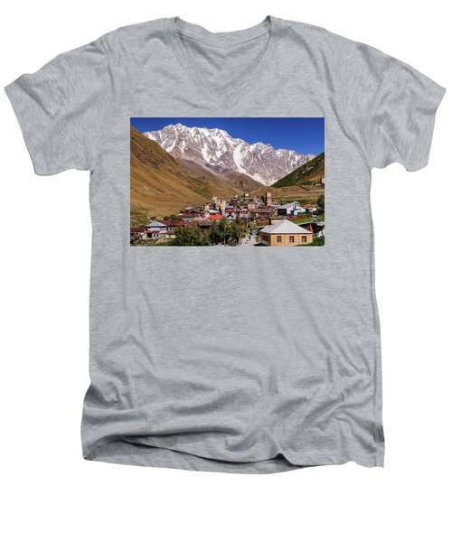 Men's V-Neck T-Shirt featuring the photograph Ushguli And  Shkhara Mount by Sergey Simanovsky