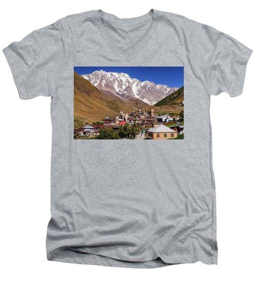 Ushguli And  Shkhara Mount Men's V-Neck T-Shirt