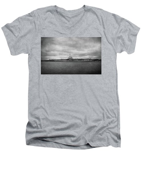 Men's V-Neck T-Shirt featuring the photograph Uss Yorktown by Sandy Keeton