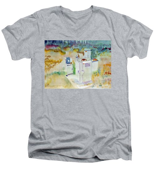 Utility Boxes Near A Forest Men's V-Neck T-Shirt