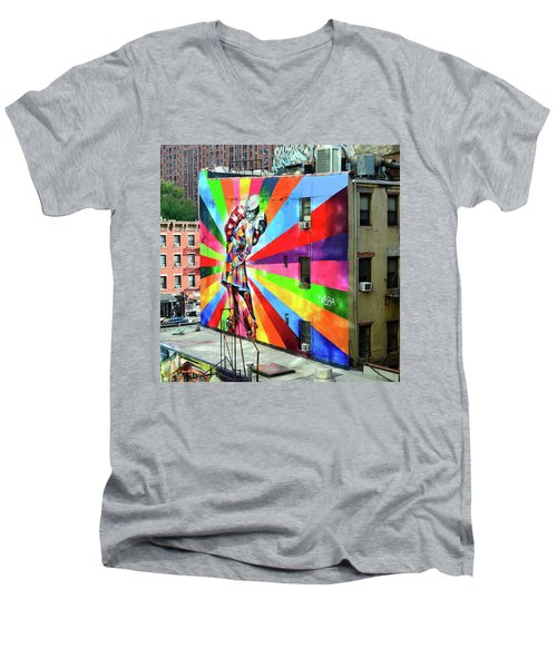 V - J Day Mural By Eduardo Kobra # 2 Men's V-Neck T-Shirt