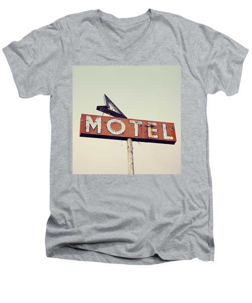Vacancy Vintage Motel Sign Men's V-Neck T-Shirt by Melanie Alexandra Price
