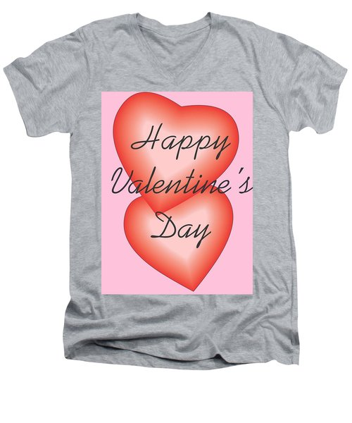 Men's V-Neck T-Shirt featuring the digital art Valentine Hearts by Sherril Porter