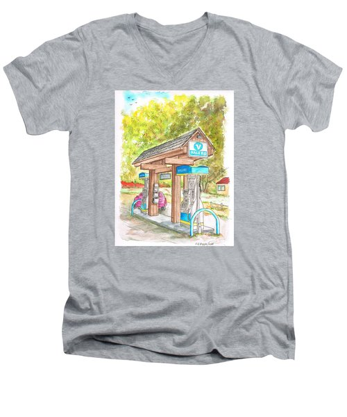 Valero Gas Station In Big Sur, California Men's V-Neck T-Shirt by Carlos G Groppa