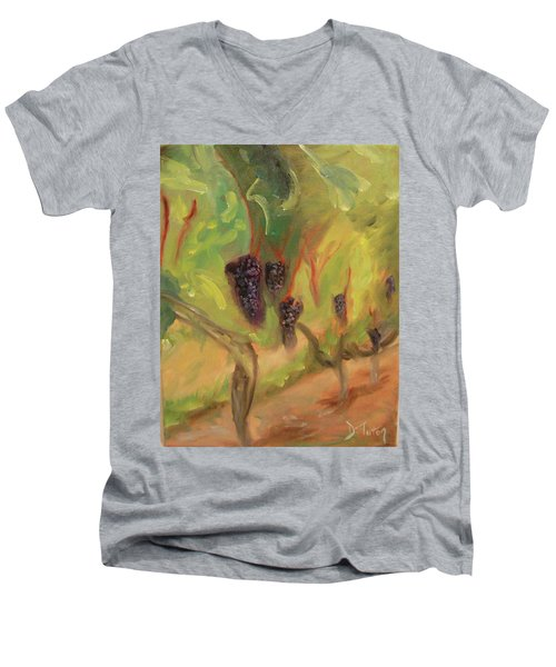 Men's V-Neck T-Shirt featuring the painting Valhalla Vineyard by Donna Tuten