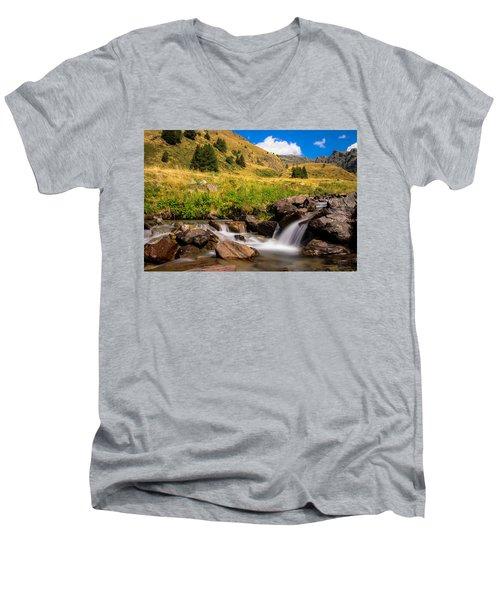 Valle Di Viso - Ponte Di Legno Men's V-Neck T-Shirt by Cesare Bargiggia