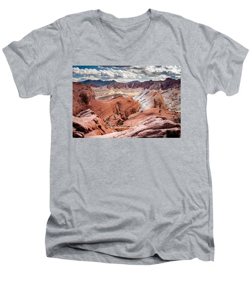Valley Of Fire Expanse Men's V-Neck T-Shirt by Jason Moynihan