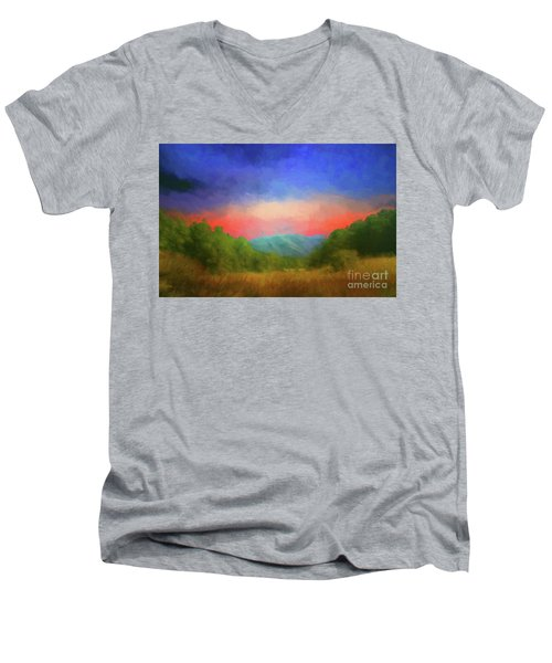Valley In The Cove Men's V-Neck T-Shirt by Geraldine DeBoer