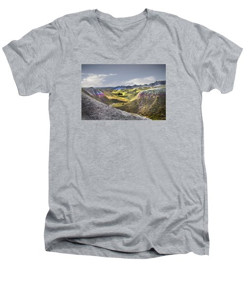 Men's V-Neck T-Shirt featuring the photograph Valley Of Beauty,badlands South Dakota by John Hix