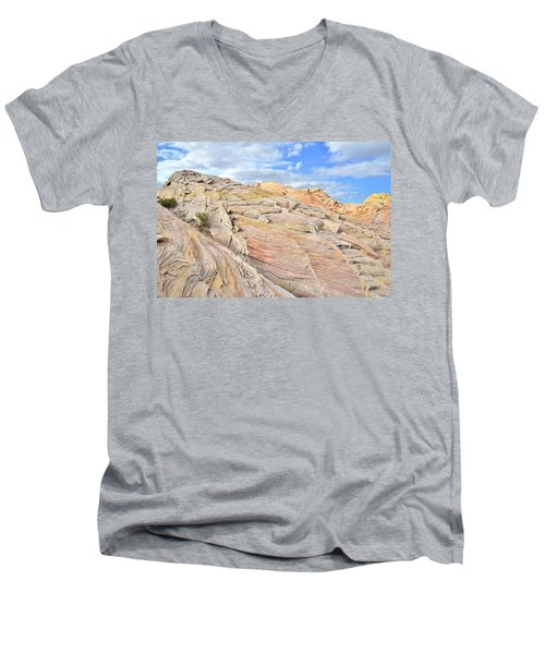 Valley Of Fire High Country Men's V-Neck T-Shirt by Ray Mathis
