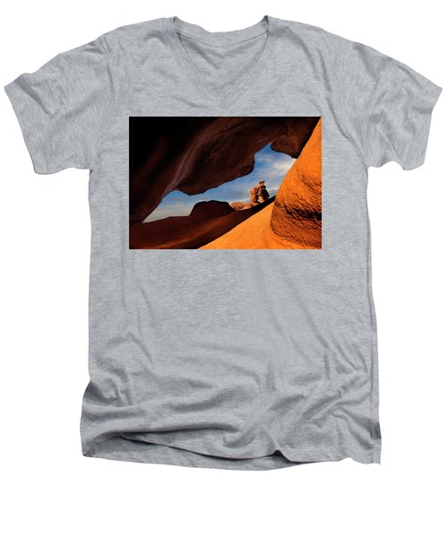Valley Of Fire Look Through Men's V-Neck T-Shirt by Gary Warnimont