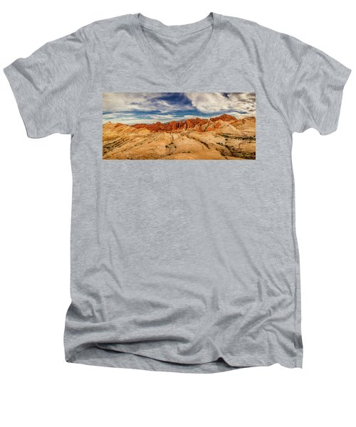 Men's V-Neck T-Shirt featuring the photograph Valley Of Fire Panorama by Rikk Flohr