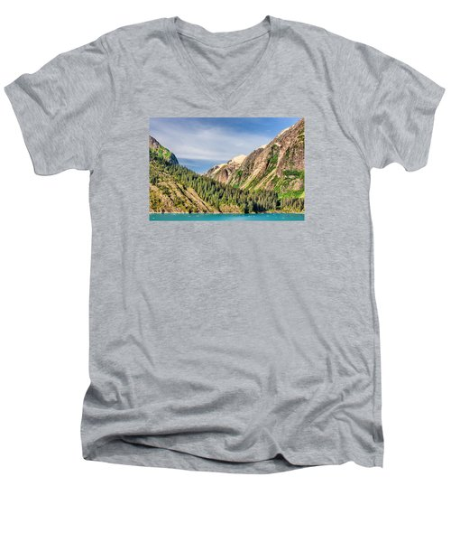 Men's V-Neck T-Shirt featuring the photograph Valley Of Trees by Lewis Mann