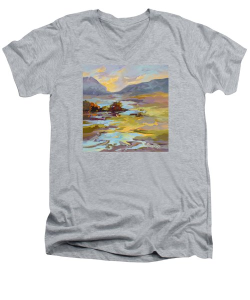 Men's V-Neck T-Shirt featuring the painting Valley Vantage Point by Rae Andrews