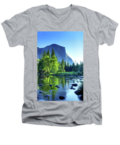 Valley View Morning Men's V-Neck T-Shirt by Rick Berk