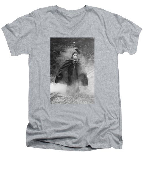 Men's V-Neck T-Shirt featuring the photograph Vampire In The Fog by Barbara West