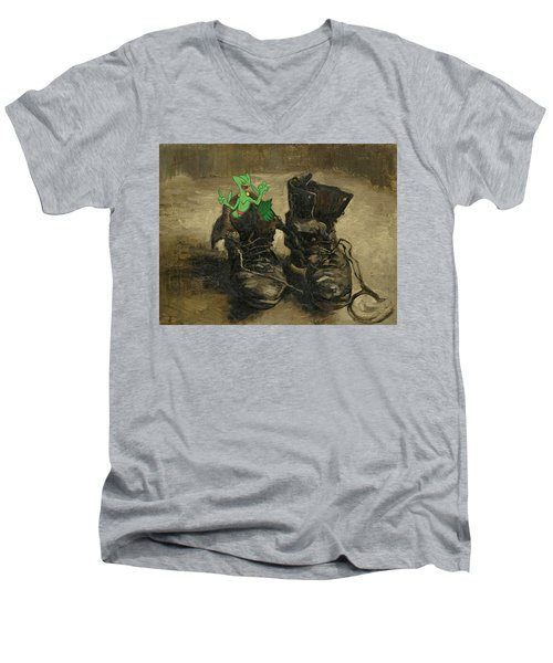 Men's V-Neck T-Shirt featuring the digital art Van Septilegogh by Greg Sharpe