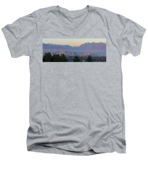 Vancouver Bc Downtown Cityscape At Sunset Panorama Men's V-Neck T-Shirt