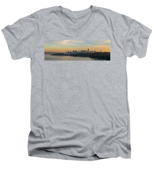 Vancouver Bc Skyline Along Stanley Park At Sunset Men's V-Neck T-Shirt