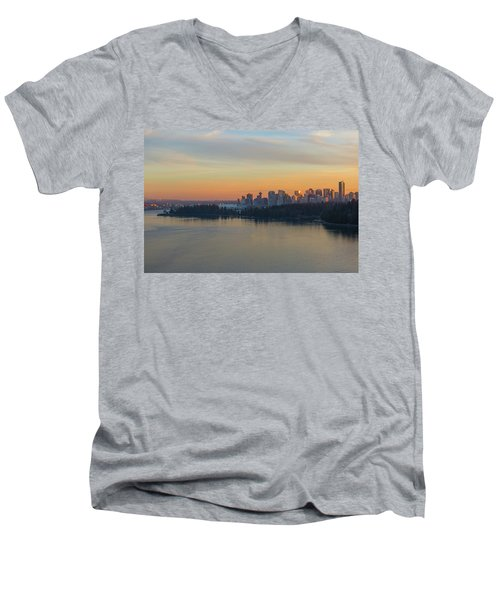 Vancouver Bc Skyline And Stanley Park At Sunset Men's V-Neck T-Shirt