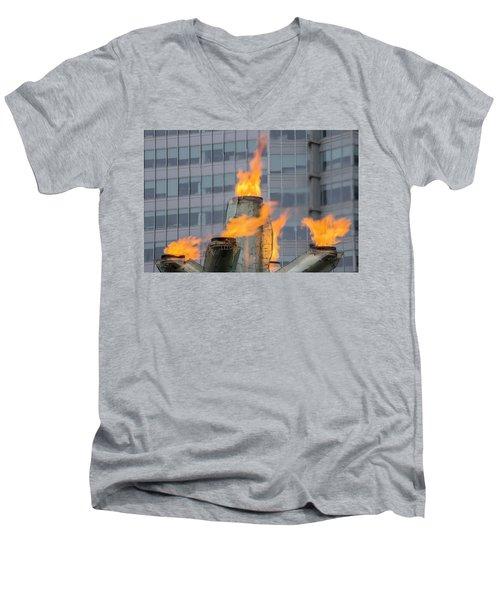 Vancouver Olympic Cauldron 2 Men's V-Neck T-Shirt