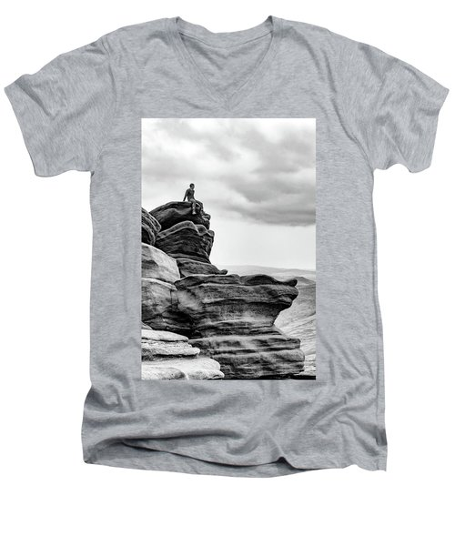 Men's V-Neck T-Shirt featuring the photograph Vantage Point by Nick Bywater