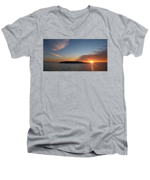 Men's V-Neck T-Shirt featuring the photograph Variations Of Sunsets At Gulf Of Bothnia 3 by Jouko Lehto