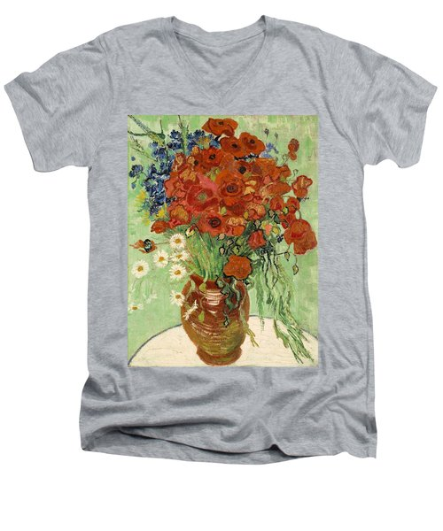 Men's V-Neck T-Shirt featuring the painting Vase With Daisies And Poppies by Van Gogh