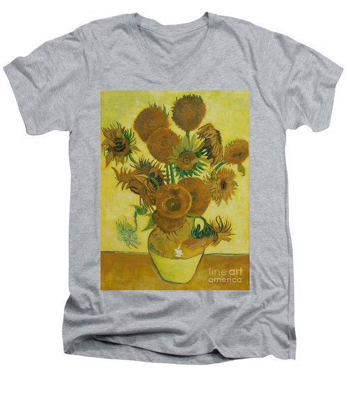 Vase Withfifteen Sunflowers Men's V-Neck T-Shirt