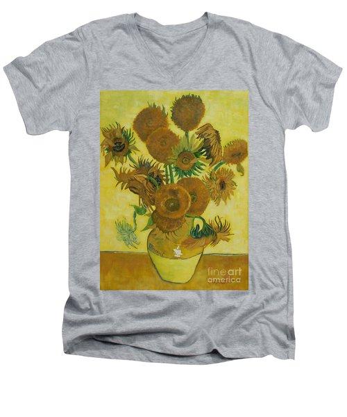 Vase Withfifteen Sunflowers Men's V-Neck T-Shirt