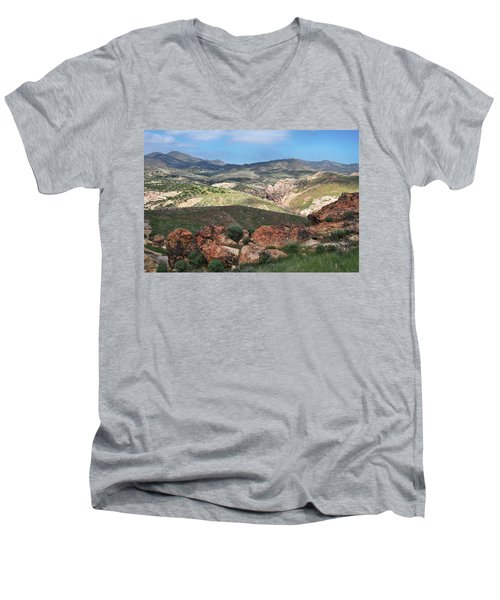 Vasquez Rocks Park Men's V-Neck T-Shirt by Kyle Hanson