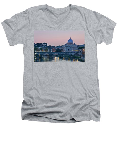 Vatican City At Sunset Men's V-Neck T-Shirt