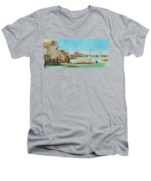 Venetian Canal Men's V-Neck T-Shirt by Sergey Lukashin