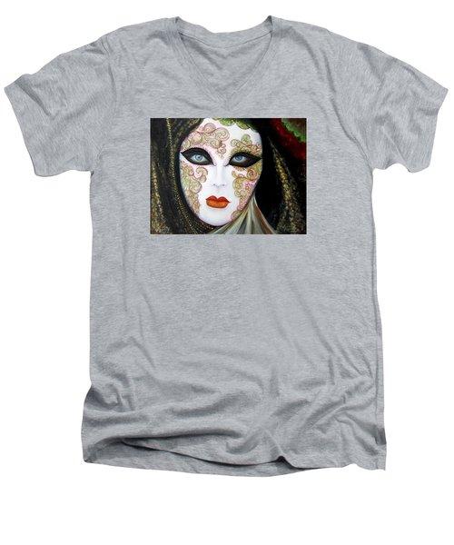Venetian Mask In Black 2015 Men's V-Neck T-Shirt
