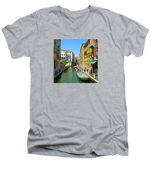 Men's V-Neck T-Shirt featuring the photograph Venetian Sunshine by Anne Kotan