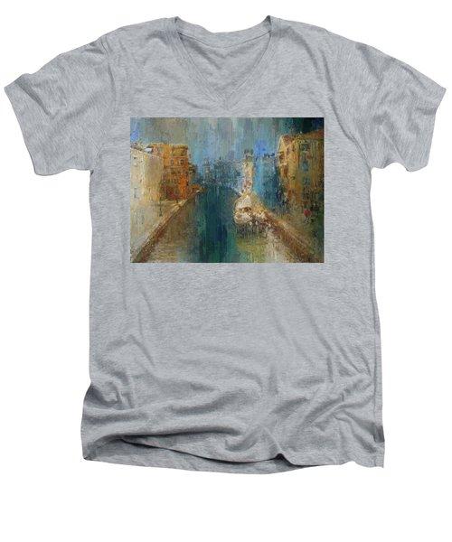 Venice Blue And Yellow Men's V-Neck T-Shirt
