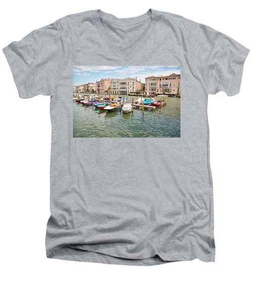 Men's V-Neck T-Shirt featuring the photograph Venice Boats by Sharon Jones