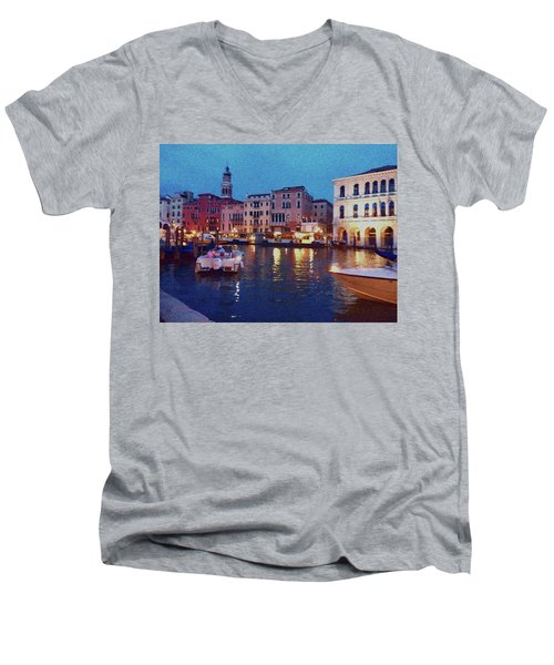 Men's V-Neck T-Shirt featuring the photograph Venice By Night by Anne Kotan