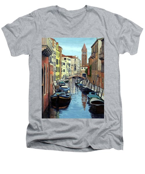 Men's V-Neck T-Shirt featuring the painting Venice Canal Reflections by Janet King