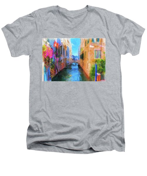 Venice Canal Painting Men's V-Neck T-Shirt by Michael Cleere