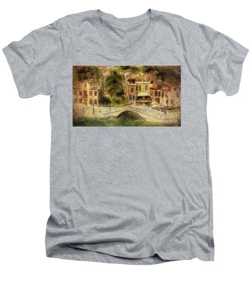 Men's V-Neck T-Shirt featuring the digital art Venice City Of Bridges by Lois Bryan