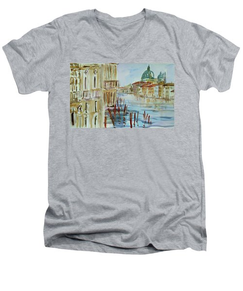 Men's V-Neck T-Shirt featuring the painting Venice Impression IIi by Xueling Zou