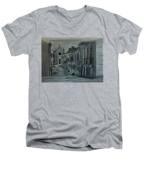 Men's V-Neck T-Shirt featuring the painting Venice In Grey And White by Rod Jellison