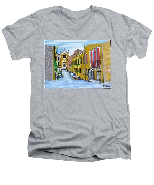 Men's V-Neck T-Shirt featuring the painting Venice In September by Rod Jellison