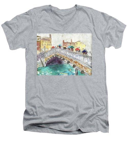 Venice In The Rain Men's V-Neck T-Shirt by Barbara Anna Knauf