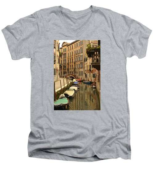 Venice Street Scene 2 Men's V-Neck T-Shirt by Richard Ortolano
